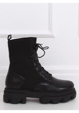 Štýlové dámske čižmy čiernej farby s ponožkovým zvrškom