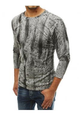Pánske vzorované tričko s dlhým rukávom v svetlosivej farbe