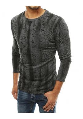 Tmavosivé vzorované tričko s dlhým rukávom pre pánov