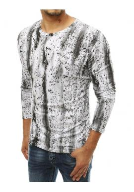 Vzorované pánske tričko bielej farby s dlhým rukávom