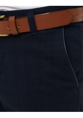 Klasické pánske Chinos nohavice tmavomodrej farby so vzorom