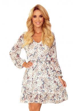 Biele šifónové šaty s kvetinovým vzorom pre dámy