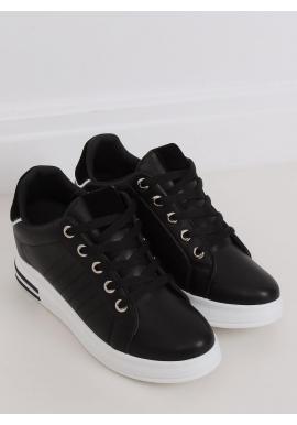 Dámske módne tenisky na skrytom opätku v čiernej farbe
