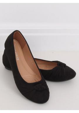 Dámske semišové balerínky s aplikáciou v čiernej farbe