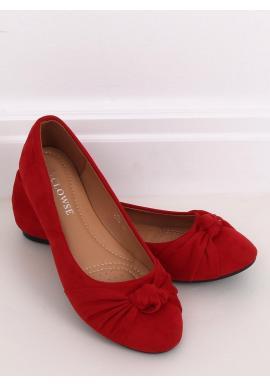 Červené semišové balerínky s aplikáciou pre dámy
