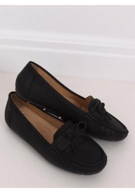 Dámske klasické mokasíny s mašľou v čiernej farbe