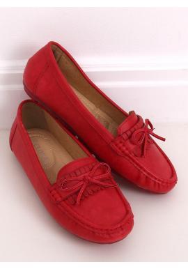 Klasické dámske mokasíny červenej farby s mašľou
