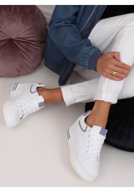 Klasické dámske tenisky bielo-modrej farby na skrytom opätku