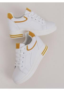 Dámske klasické tenisky na skrytom opätku v bielo-žltej farbe
