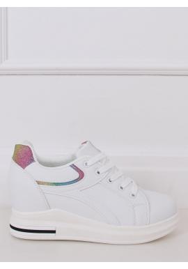 Dámske klasické tenisky na opätku s farebnými vložkami v bielej farbe