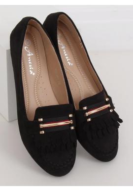 Semišové dámske mokasíny čiernej farby s ozdobou