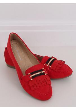 Červené semišové mokasíny s ozdobou pre dámy