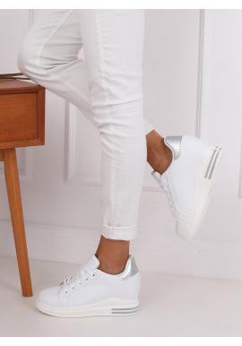 Módne dámske tenisky bielo-striebornej farby na skrytom opätku