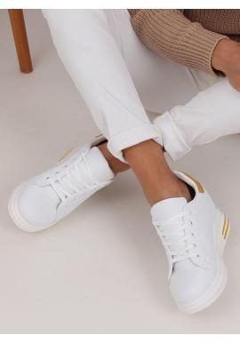 Bielo-žlté módne tenisky na skrytom opätku pre dámy