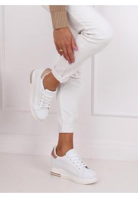 Módne dámske tenisky bielej/ružovo-zlatej farby na skrytom opätku