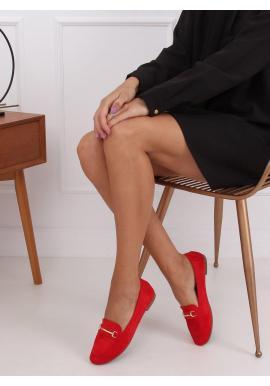 Semišové dámske mokasíny červenej farby so zlatou ozdobou