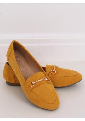 Žlté semišové mokasíny so zlatou ozdobou pre dámy