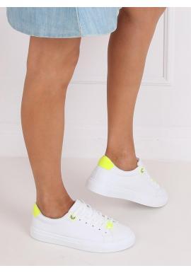 Klasické dámske tenisky bielej farby so žltými doplnkami