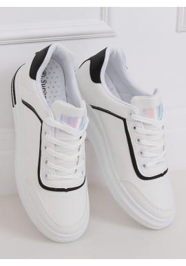 Dámske štýlové tenisky na skrytom opätku v bielo-čiernej farbe