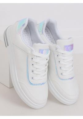 Bielo-strieborné štýlové tenisky na skrytom opätku pre dámy