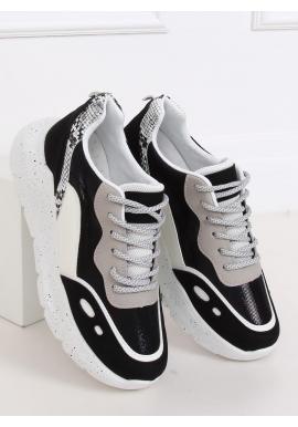 Dámske športové tenisky s vysokou podrážkou v bielo-čiernej farbe