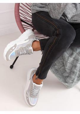 Bielo-sivé športové tenisky s vysokou podrážkou pre dámy