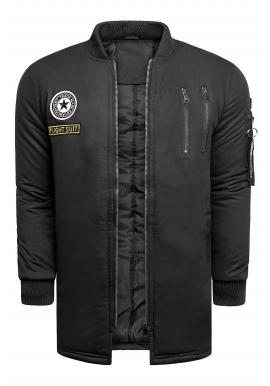 Pánska dlhšia bunda na prechodné obdobie v čiernej farbe