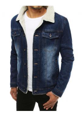 Pánska rifľová bunda s kožušinou v modrej farbe