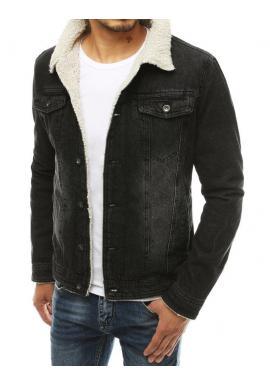 Rifľová pánska bunda čiernej farby s kožušinou