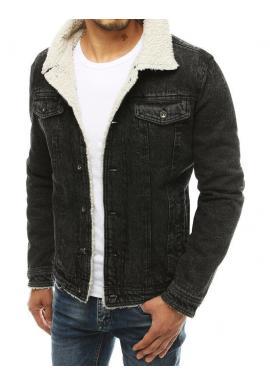 Čierna rifľová bunda s kožušinou pre pánov