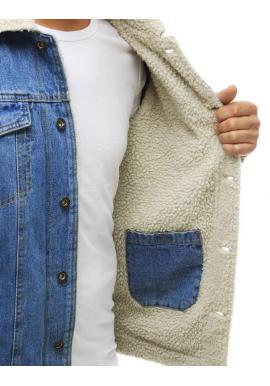Pánska rifľová bunda s kožušinou v svetlomodrej farbe