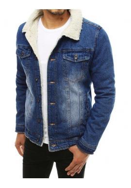 Rifľová pánska bunda modrej farby s kožušinou