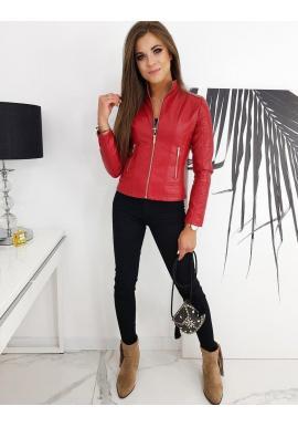 Klasická dámska koženka červenej farby s prešívaním
