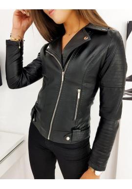 Štýlová dámska koženka čiernej farby s prešívaním