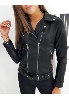 Čierna koženková bunda s prešívaním pre dámy