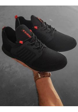 Čierno-červené športové tenisky pre pánov