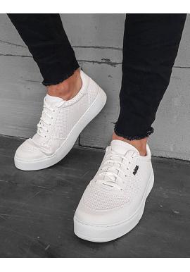 Pánske módne tenisky s dierkovanou textúrou v bielej farbe
