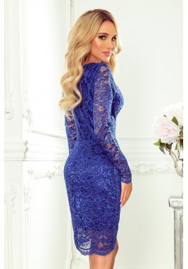 Modré čipkované šaty s dlhým rukávom pre dámy