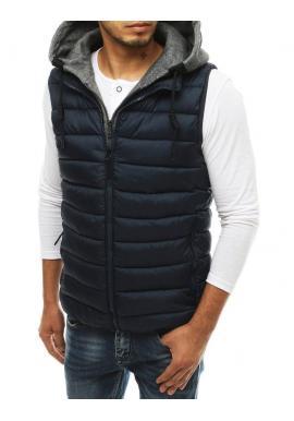 Pánska prešívaná vesta s odopínacou kapucňou v tmavomodrej farbe