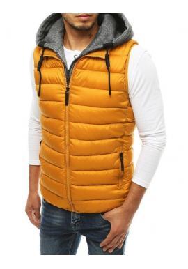Prešívaná pánska vesta ťavej farby s odopínacou kapucňou
