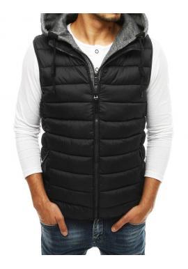 Pánske prešívané vesty s odopínacou kapucňou v čiernej farbe