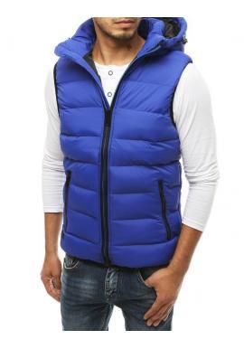Prešívaná pánska vesta modrej farby s kapucňou