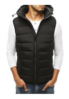 Čierna prešívaná vesta s kapucňou pre pánov