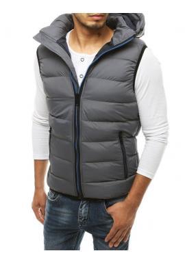 Pánska prešívaná vesta s kapucňou v sivej farbe