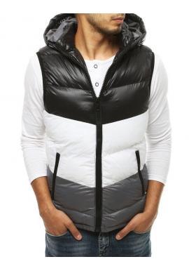 Pánska prešívaná vesta s kapucňou v čiernej farbe
