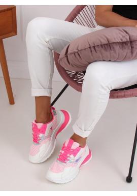 Dámske športové tenisky s masívnou podrážkou v bielo-ružovej farbe