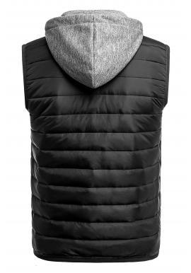 Pánska oteplená vesta s kapucňou v čiernej farbe