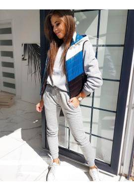 Modrá prešívaná vesta s kapucňou pre dámy