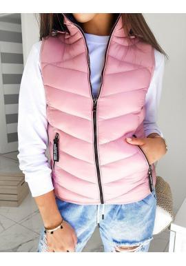 Prešívaná dámska vesta ružovej farby s kapucňou
