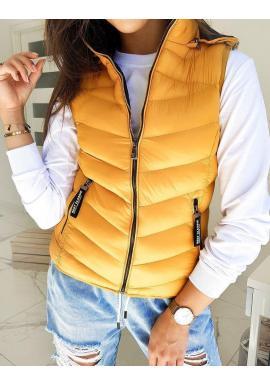 Dámska prešívaná vesta s kapucňou v žltej farbe